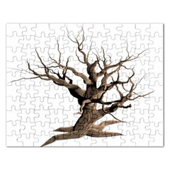 Tree Isolated Dead Plant Weathered Rectangular Jigsaw Puzzl