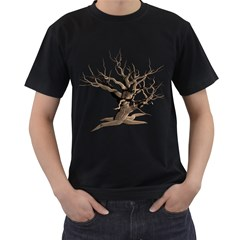 Tree Isolated Dead Plant Weathered Men s T-Shirt (Black) (Two Sided)