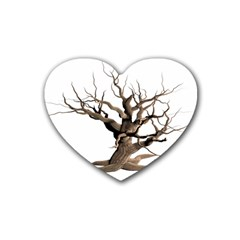 Tree Isolated Dead Plant Weathered Rubber Coaster (Heart)