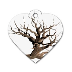 Tree Isolated Dead Plant Weathered Dog Tag Heart (Two Sides)