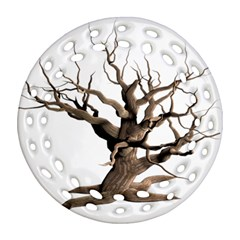 Tree Isolated Dead Plant Weathered Ornament (Round Filigree)