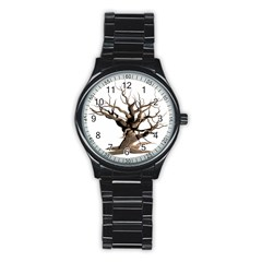 Tree Isolated Dead Plant Weathered Stainless Steel Round Watch