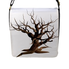 Tree Isolated Dead Plant Weathered Flap Messenger Bag (l)