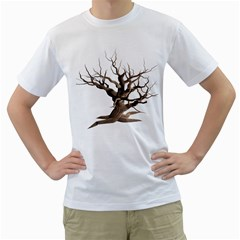 Tree Isolated Dead Plant Weathered Men s T Shirt (white)