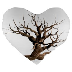 Tree Isolated Dead Plant Weathered Large 19  Premium Flano Heart Shape Cushions