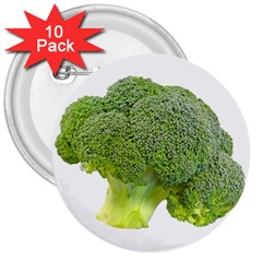 Broccoli Bunch Floret Fresh Food 3  Buttons (10 Pack)