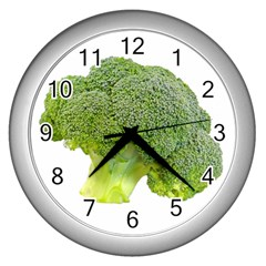 Broccoli Bunch Floret Fresh Food Wall Clocks (silver)