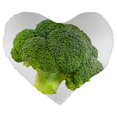 Broccoli Bunch Floret Fresh Food Large 19  Premium Heart Shape Cushions