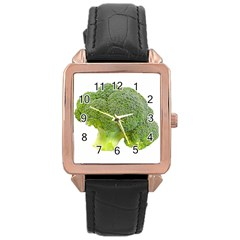 Broccoli Bunch Floret Fresh Food Rose Gold Leather Watch
