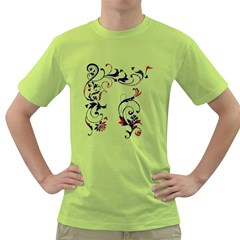 Scroll Border Swirls Abstract Green T-Shirt