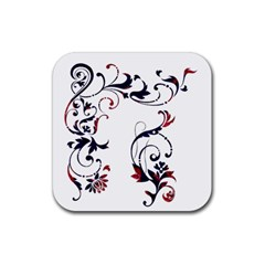 Scroll Border Swirls Abstract Rubber Square Coaster (4 Pack)