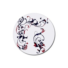 Scroll Border Swirls Abstract Rubber Coaster (round)
