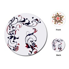 Scroll Border Swirls Abstract Playing Cards (Round)