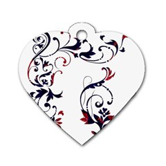 Scroll Border Swirls Abstract Dog Tag Heart (one Side)
