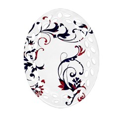 Scroll Border Swirls Abstract Oval Filigree Ornament (two Sides)