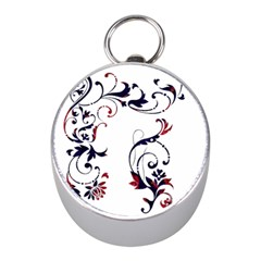 Scroll Border Swirls Abstract Mini Silver Compasses