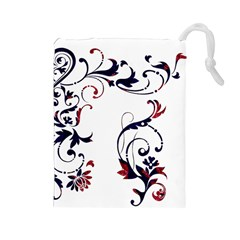 Scroll Border Swirls Abstract Drawstring Pouches (Large)
