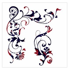 Scroll Border Swirls Abstract Large Satin Scarf (square)