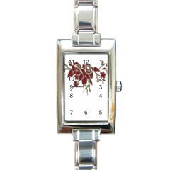 Scrapbook Element Nature Flowers Rectangle Italian Charm Watch