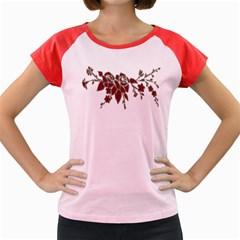 Scrapbook Element Nature Flowers Women s Cap Sleeve T Shirt