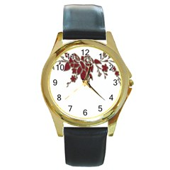 Scrapbook Element Nature Flowers Round Gold Metal Watch