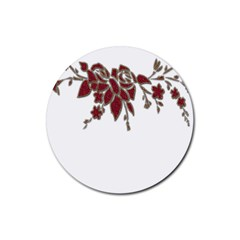 Scrapbook Element Nature Flowers Rubber Round Coaster (4 pack)