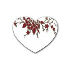Scrapbook Element Nature Flowers Heart Coaster (4 pack)