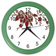 Scrapbook Element Nature Flowers Color Wall Clocks