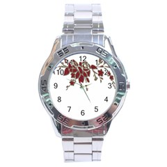 Scrapbook Element Nature Flowers Stainless Steel Analogue Watch