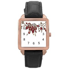 Scrapbook Element Nature Flowers Rose Gold Leather Watch