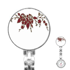 Scrapbook Element Nature Flowers Stainless Steel Nurses Watch