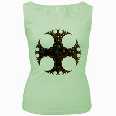 Cross Golden Cross Design 3d Women s Green Tank Top