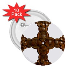 Cross Golden Cross Design 3d 2 25  Buttons (10 Pack)