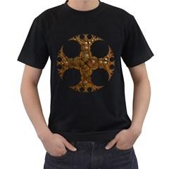 Cross Golden Cross Design 3d Men s T Shirt (black) (two Sided)