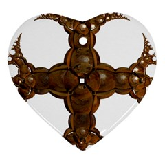 Cross Golden Cross Design 3d Heart Ornament (Two Sides)