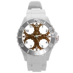 Cross Golden Cross Design 3d Round Plastic Sport Watch (l)