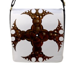 Cross Golden Cross Design 3d Flap Messenger Bag (L)