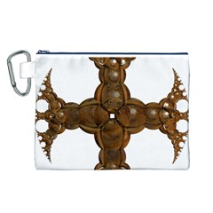 Cross Golden Cross Design 3d Canvas Cosmetic Bag (l)