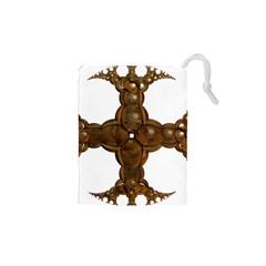 Cross Golden Cross Design 3d Drawstring Pouches (xs)