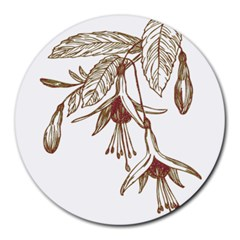 Floral Spray Gold And Red Pretty Round Mousepads