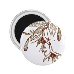 Floral Spray Gold And Red Pretty 2.25  Magnets