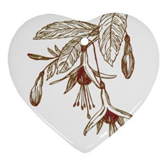 Floral Spray Gold And Red Pretty Ornament (Heart)