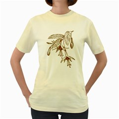 Floral Spray Gold And Red Pretty Women s Yellow T Shirt