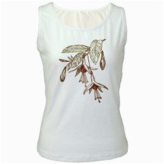 Floral Spray Gold And Red Pretty Women s White Tank Top