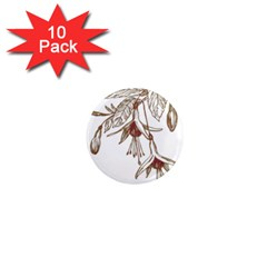 Floral Spray Gold And Red Pretty 1  Mini Magnet (10 pack)