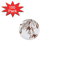 Floral Spray Gold And Red Pretty 1  Mini Buttons (100 Pack)