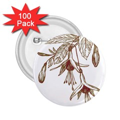 Floral Spray Gold And Red Pretty 2 25  Buttons (100 Pack)