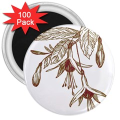 Floral Spray Gold And Red Pretty 3  Magnets (100 Pack)