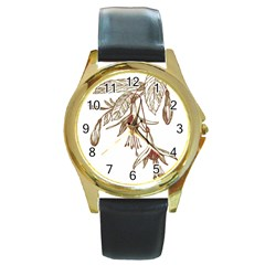 Floral Spray Gold And Red Pretty Round Gold Metal Watch