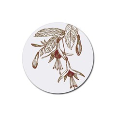 Floral Spray Gold And Red Pretty Rubber Round Coaster (4 Pack)